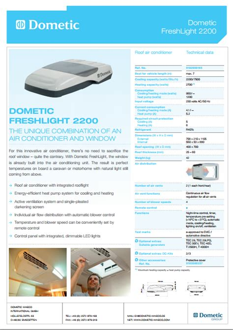 Dometic Freshlight 2200 Air Conditioner Amp Rooflight Air