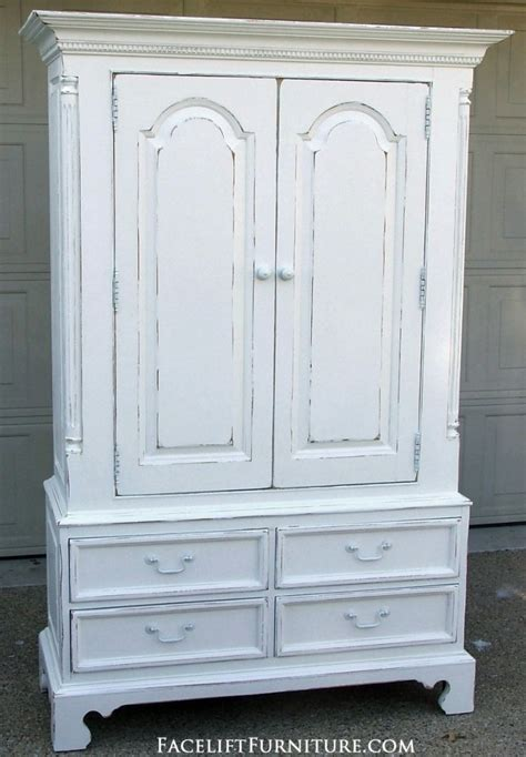 white wardrobe armoire distressed white clothing armoire facelift furniture