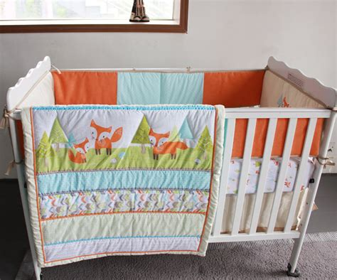 Woodland Crib Bedding Sets Foxes Woodland 4pc Newborn Crib Bedding Set Baby Cot Set Applique Quilt Bumpers Fitted