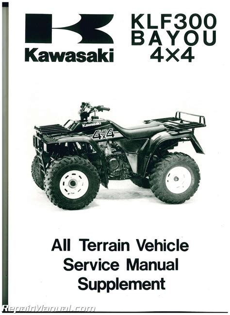 Kawasaki Service Manuals by 1989 2006 Kawasaki Bayou 300 4 215 4 Service Manual Supplement