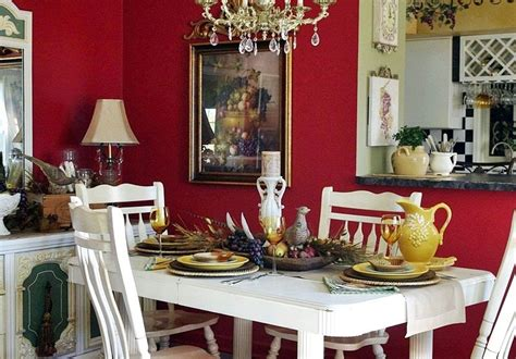 french country dining room  dressed  red