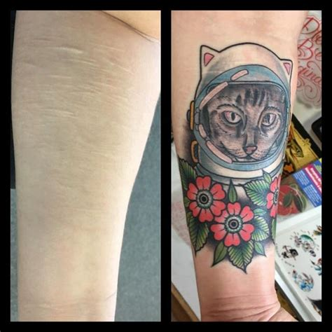 acme tattoo scar cover up of my cat astronaut mike done by