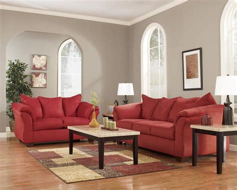 ashley furniture darcy sofa rent to own ashley darcy sofa loveseat set in salsa