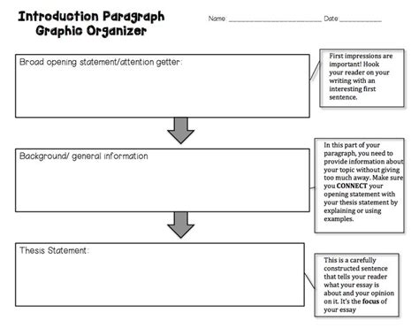 Intro Paragraph For Essay by Introductory Paragraph Graphic Organizer And How To Write An Introduction Elementary And