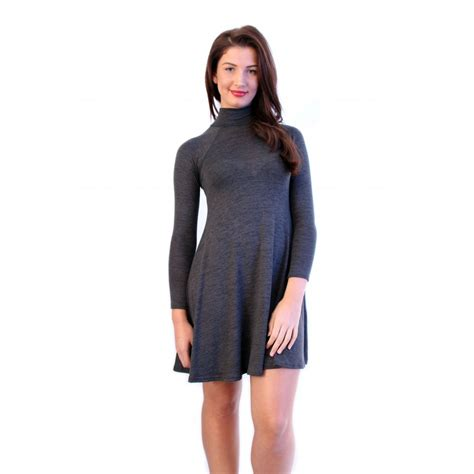 Turtle Neck Grey grey turtle neck swing dress from parisia