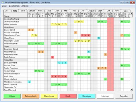 printable annual leave planner free attendance planner download