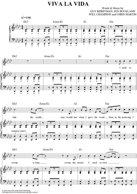 tutorial piano viva la vida viva la vida sheet music music for piano and more