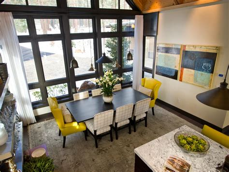 Hgtv Dining Room Dining Room With Length Windows And Electric Yellow Chairs This Bright Dining Space Is