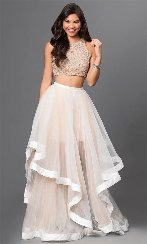 ivory color dress terani two top dress promgirl