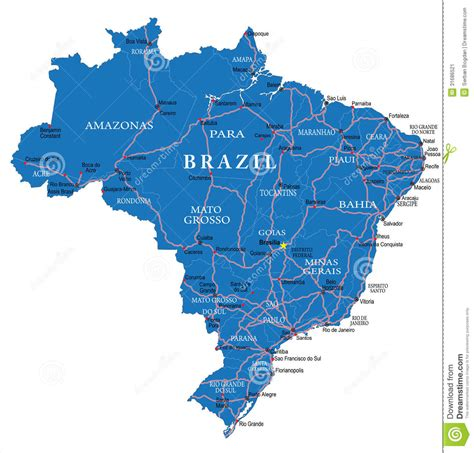 brazil map with cities brazil map stock image image 31686521