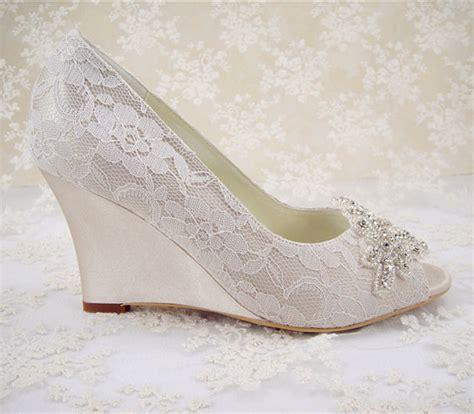 Lace Wedding Wedges by Wedding Shoes Peeptoe Bridal Shoes Rhinestone Wedge