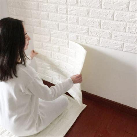 putting up patterned wallpaper 3d brick pe foam wall sticker pattern wallpaper bedroom