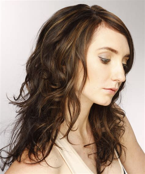swept back casual haircust long wavy casual hairstyle with side swept bangs dark
