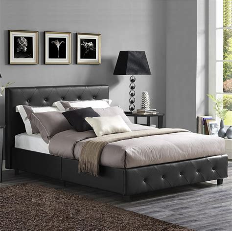 bedroom with tufted headboard upholstered bed frame queen black platform furniture