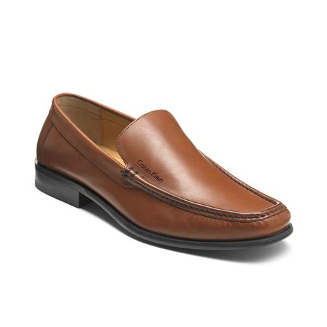 brown loafers calvin klein neil loafers in brown for lyst