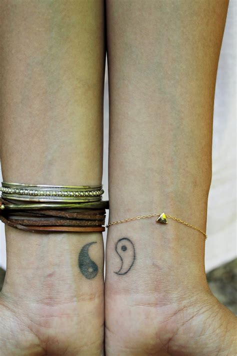 great couple friendship tattoo yin yang symbol on the