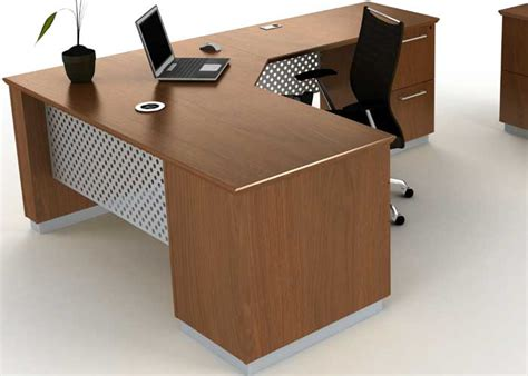 Meja Executive modern l shaped executive desk with metal wood officepope