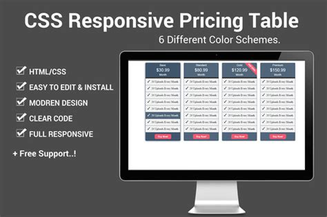 responsive themes html css css responsive pricing table html css themes on creative