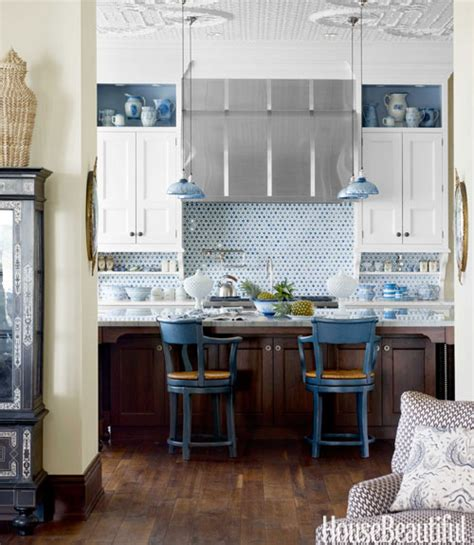 for the of kitchens blue white kitchen the