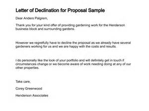Rejection Of Purchase Order Letter Letter Of Declination