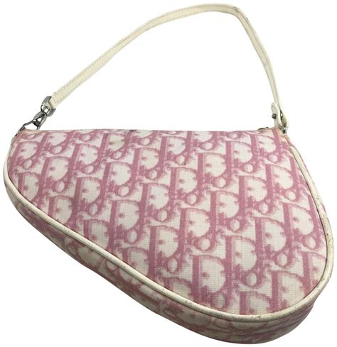 dior christian saddle handbag pink white monogram fabric