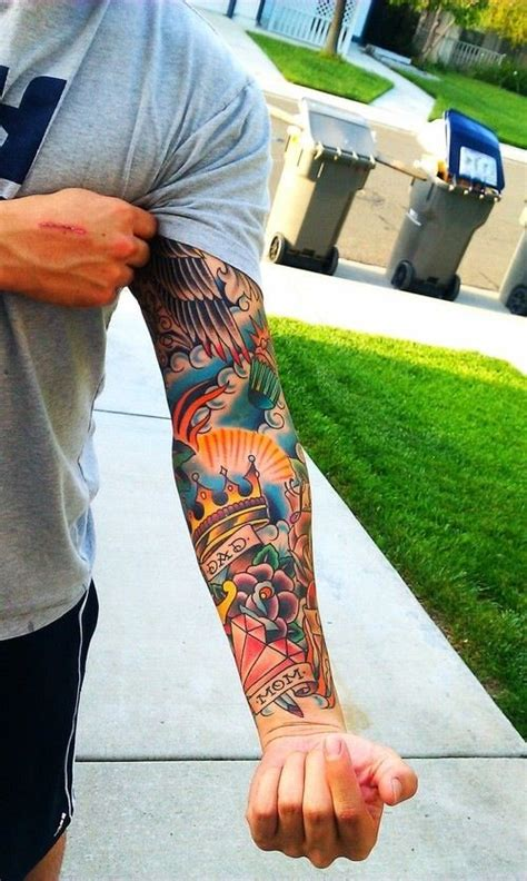 colorful tattoo sleeves for men 25 best ideas about american traditional sleeve on