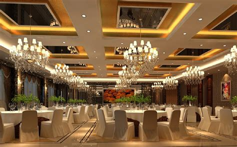 Dining Room Wall Decorations by 3d Interior Banquet Hall Suspended Ceiling And Chandeliers