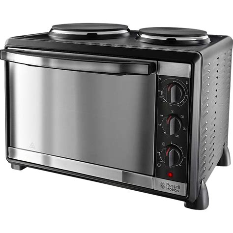 stove oven small electric ovens russell hobbs 22780 1600w 30l mini oven with 2 hotplate burners in black ebay