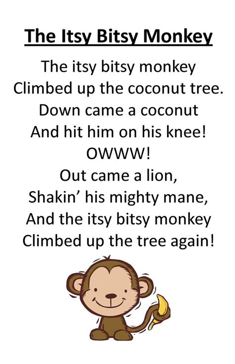 theme music to zoo time itty bitty rhyme the itsy bitsy monkey itty bitty