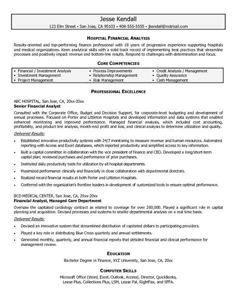 financial analyst cv template exle hospital financial analyst resume free sle