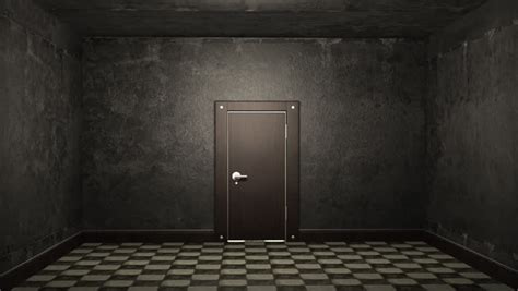 white brick room and open door light stock footage