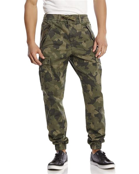 Cotton Lab Essential Jogger Cargo Olive lrg camouflage cargo jogger in green for