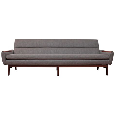 danish mid century sofa mid century modern danish sofa with teak arm accents at