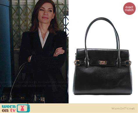 what kind of purse does juianna margolis carry in the good wife wornontv alicia s black handbag with buckles on the good