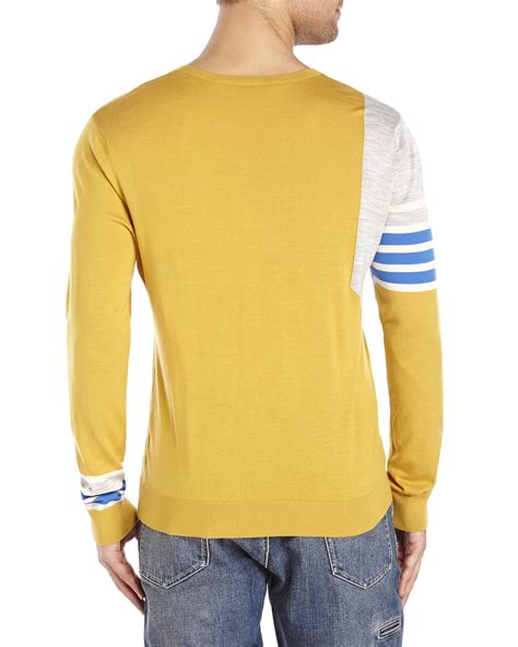 mustard color sweater lyst tim coppens mustard stripe color block wool sweater