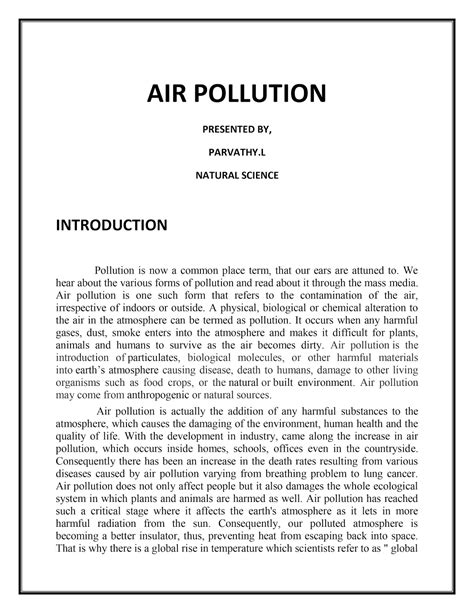 Air Pollution Essay Conclusion by Air Pollution Conclusion Essay