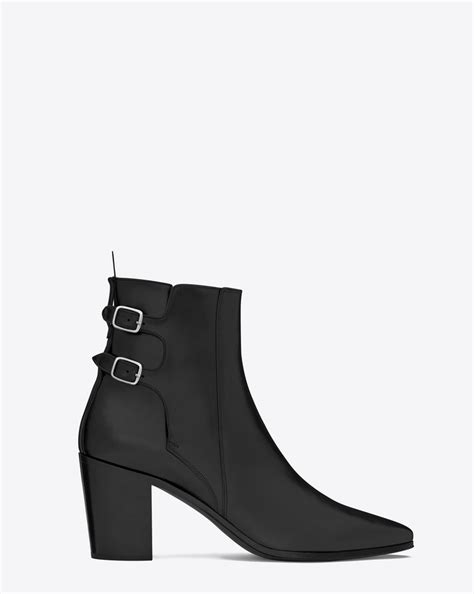 laurent 85 buckle ankle boot in black