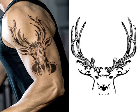 tribal buck tattoos inspiring deer skull design ideas and their meaning