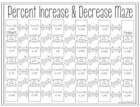 percent increase and decrease maze maze percents and math