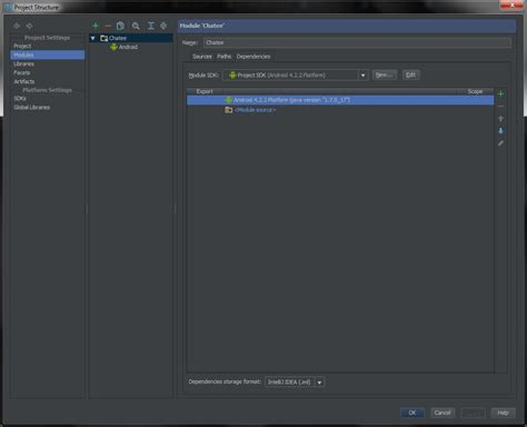 android module android studio not showing modules in project structure