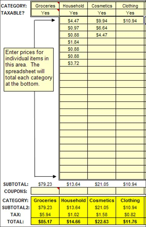 Spreadsheet Receipt Template by Splitting Receipts Categories Moneyspot Org