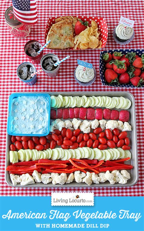 american flag vegetable tray 4th of july party ideas