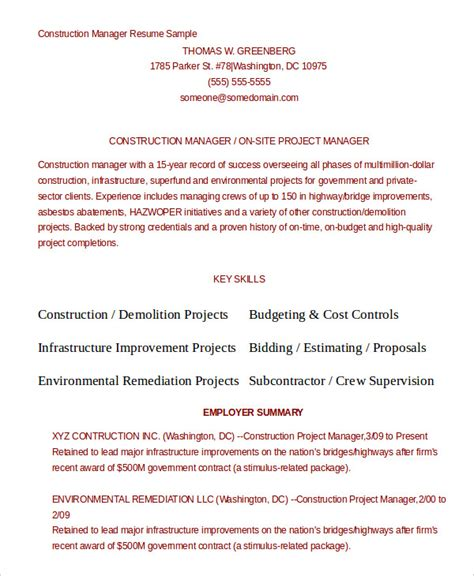 Construction Manager Resume Template by 10 Construction Resume Exle Pdf Doc Free