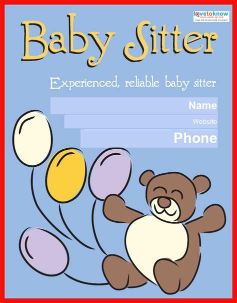 babysitting poster template babysitting template free apa exle