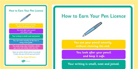 pen licence certificate template how to earn your pen licence display poster how earn pen