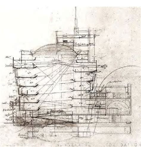 guggenheim section section drawing solomon r guggenheim museum nyc 1959