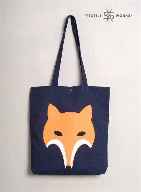 Handmade Fabric Tote Bags - fox tote bag handmade fabric bag with fox applique
