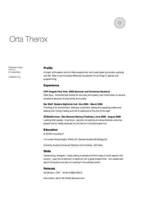 About Myself In Resume