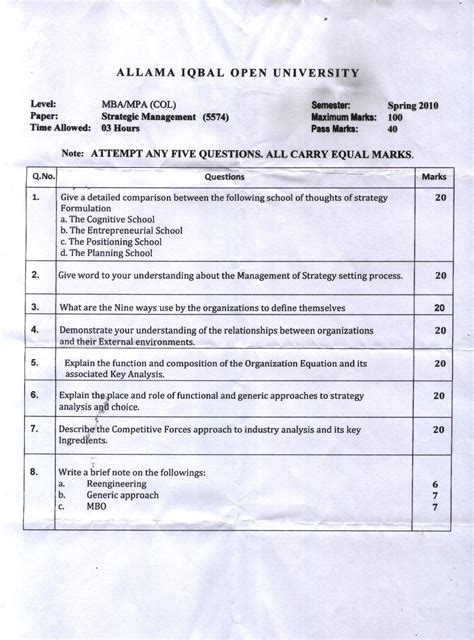 Col Mba by Aiou Col Mba And Mpa Past Papers Free Allama