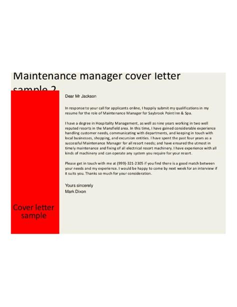 preventive maintenance manager cover letter sles and